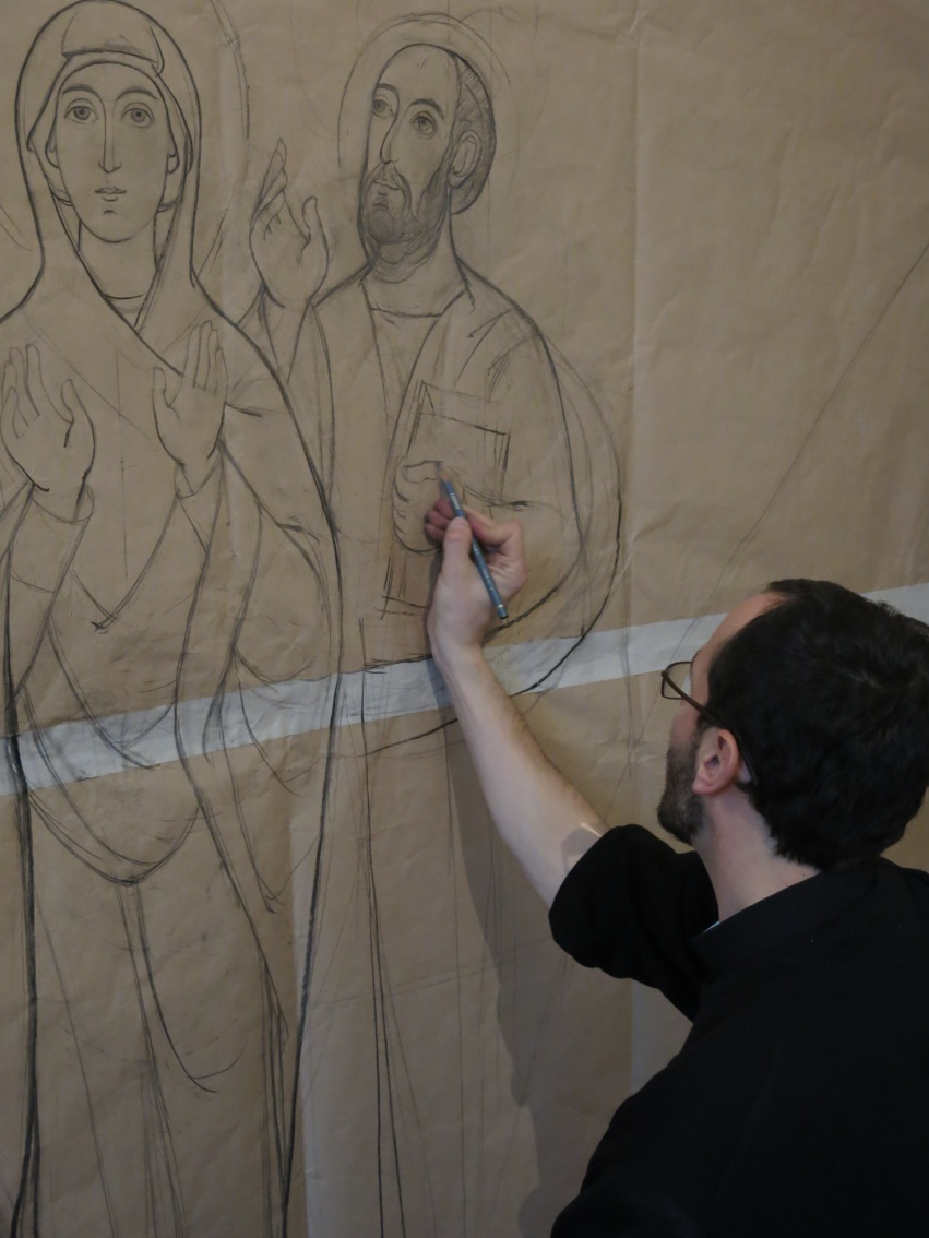 Br. Ioan Gotia prepares sketches of the Iconography