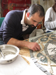01 Student works on Chapel mosaic